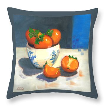Throw Pillow featuring the painting Persimmons by Susan Thomas