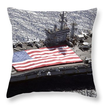 Personnel Participate In A Flag Throw Pillow