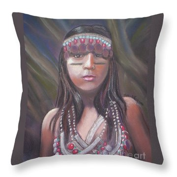 Peruvian Girl Throw Pillow by Julie Brugh Riffey