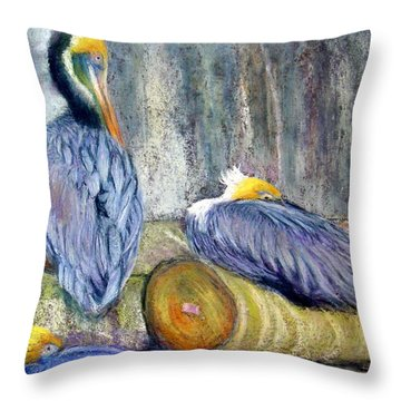 Throw Pillow featuring the pastel Peruvian Pelicans Three Pastel by Antonia Citrino