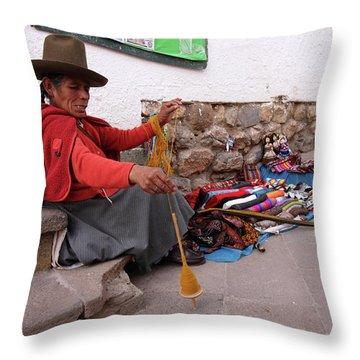 Throw Pillow featuring the photograph Peruvian Weaver by Aidan Moran