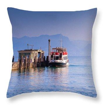 Blue Morning At Peschiera Di Garda Throw Pillow