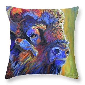 Pesky Cowbird Throw Pillow by Jenn Cunningham