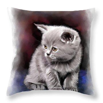 Pet Cat Portrait Throw Pillow by Michael Greenaway