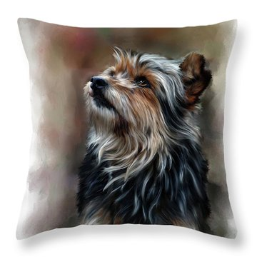 Pet Dog Portrait Throw Pillow by Michael Greenaway