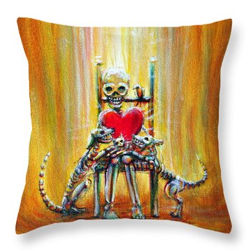 Throw Pillow featuring the painting Pet Love by Heather Calderon