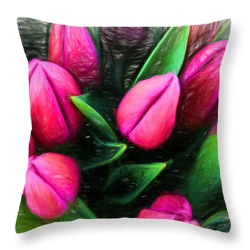 Throw Pillow featuring the digital art Petal Portrait by Terry Cork