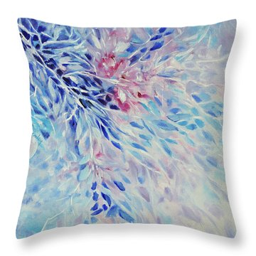 Throw Pillow featuring the painting Petals And Ice by Joanne Smoley
