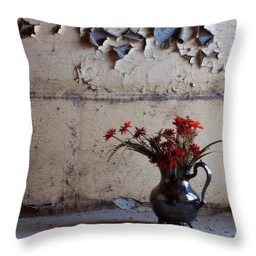 Petals And Peeling Paint - Preston Castle Throw Pillow