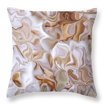 Petals Beige Throw Pillow by Cindy Lee Longhini