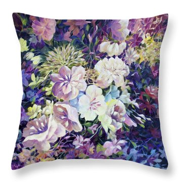Throw Pillow featuring the painting Petals by Joanne Smoley