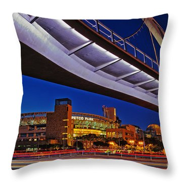 Petco Park And The Harbor Drive Pedestrian Bridge In Downtown San Diego  Throw Pillow