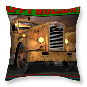 Throw Pillow featuring the digital art Pete Ol' Yeller Happy Holidays by Stuart Swartz