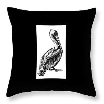 Pete The Pelican Throw Pillow