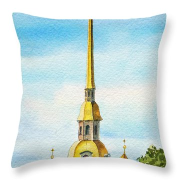 Peter And Paul Cathedral Saint Petersburg Russia Throw Pillow