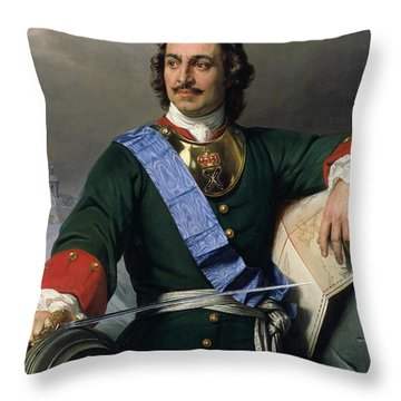 Peter I The Great Throw Pillow by Delaroche