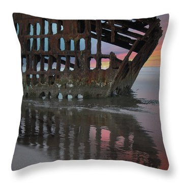 Peter Iredale Shipwreck At Sunrise Throw Pillow