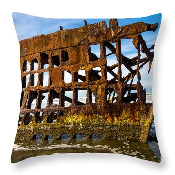 Peter Iredale Shipwreck - Oregon Coast Throw Pillow by Gary Whitton