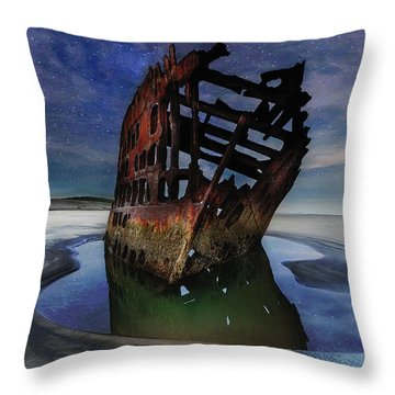 Peter Iredale Shipwreck Under Starry Night Sky Throw Pillow