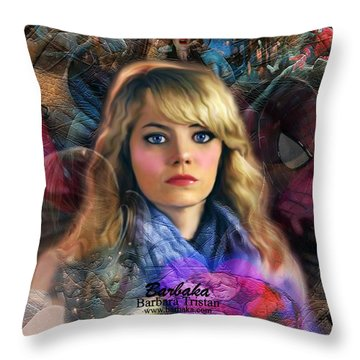 Throw Pillow featuring the digital art Peter Parker's Haunting Memories Of Gwen Stacy by Barbara Tristan