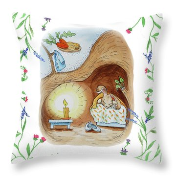 Peter Rabbit Watercolor Illustration II Throw Pillow