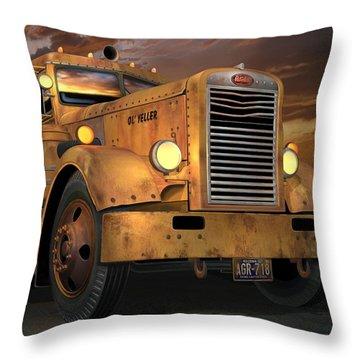 Peterbilt Ol Yeller Throw Pillow