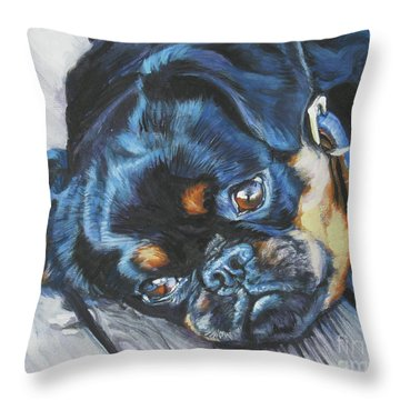 Petit Brabancon Brussels Griffon Throw Pillow by Lee Ann Shepard