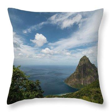 Petit Piton Saint Lucia Caribbean Big Sky Throw Pillow