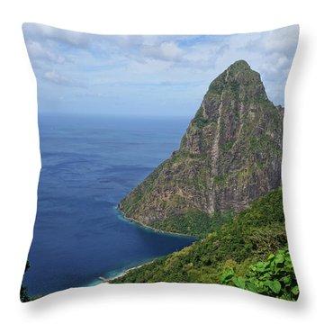 Petit Piton Saint Lucia Caribbean Throw Pillow