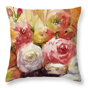 Petite Apples In Floral Throw Pillow by Judith Levins