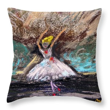 Throw Pillow featuring the painting Petite Ballerina by Mary Carol Williams