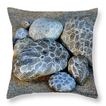 Throw Pillow featuring the photograph Petoskey Stones by SimplyCMB