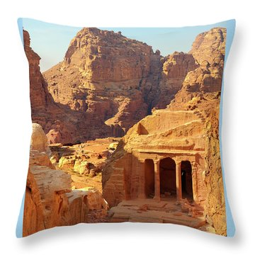 Petra Buildings, Pond And Gardens Complex Throw Pillow by Nicola Nobile