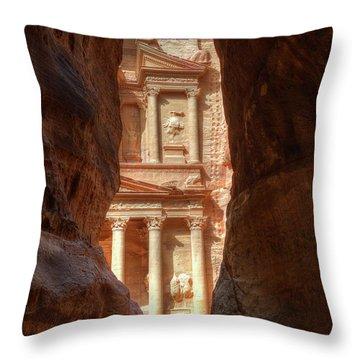 Petra Treasury Revealed Throw Pillow by Nigel Fletcher-Jones