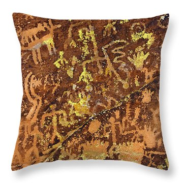 Petroglyph Records Throw Pillow by Phyllis Denton