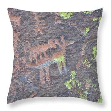 Petroglyph Wolf Attack Throw Pillow