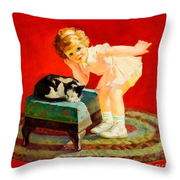 Throw Pillow featuring the painting Petting The Cat George Leslie Rapp 1920 by Peter Gumaer Ogden