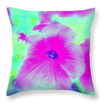 Throw Pillow featuring the photograph Petunia Glow E by Greg Moores
