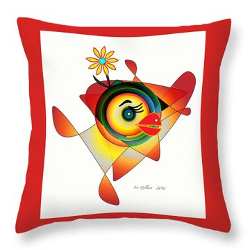 Petunia Parrot Throw Pillow by Iris Gelbart