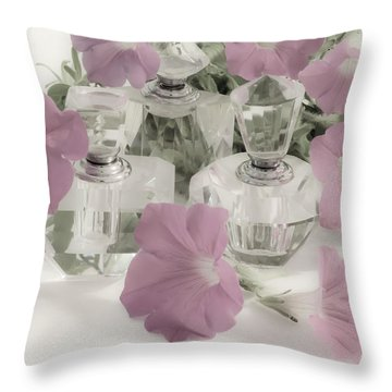 Petunias And Perfume - Soft Throw Pillow by Sandra Foster
