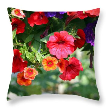 Petunias Throw Pillow by Denise Pohl