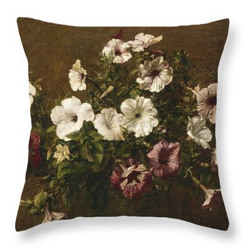 Petunias Throw Pillow by Ignace Henri Jean Fantin-Latour