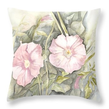 Petunias Throw Pillow by Jackie Mueller-Jones