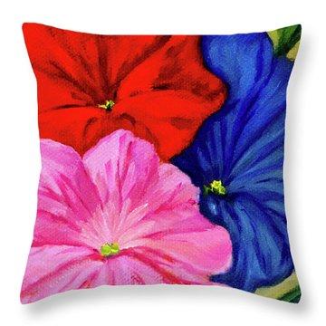Petunias Mixed Throw Pillow