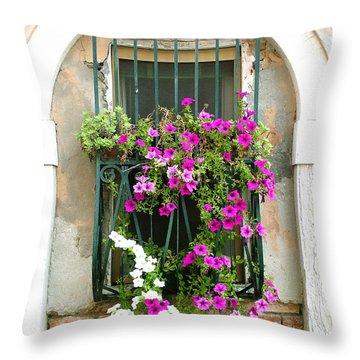 Petunias Through Wrought Iron Throw Pillow