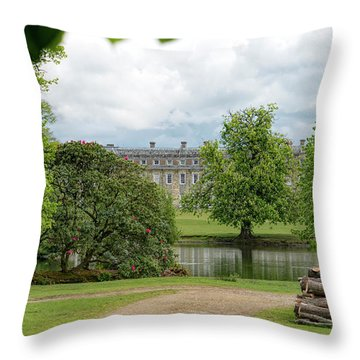 Petworth House On Lake Throw Pillow by Michael Hope