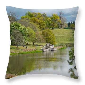 Petworth Lake In April Throw Pillow by Michael Hope