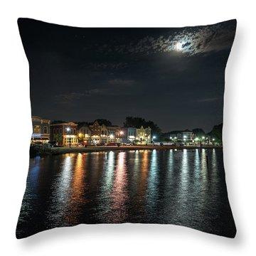 Pewaukee At Night Throw Pillow by Randy Scherkenbach