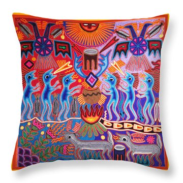 Peyote Shaman Hunting Ritual Throw Pillow