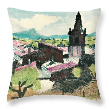 Throw Pillow featuring the painting Peyruis Village In Provence by Martin Stankewitz